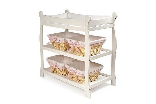 White Sleigh Style Baby Changing Table