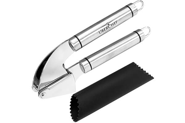 UberChef Stainless Steel Garlic Press and Peeler Set