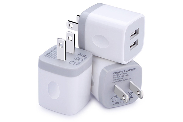 Wall Charger, [3-Pack] 5V/2.1AMP Ailkin 2-Port USB Wall