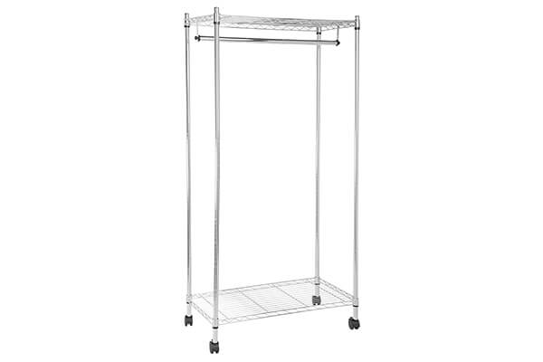 AmazonBasics Garment Rack with Top and Bottom Shelves