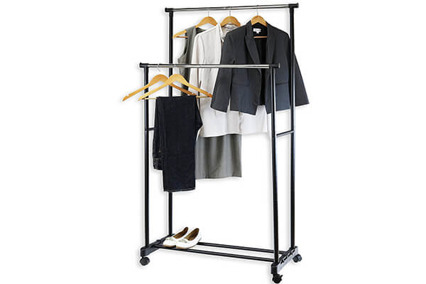 SimpleHouseware Double Rod Portable Clothing Hanging Garment Rack