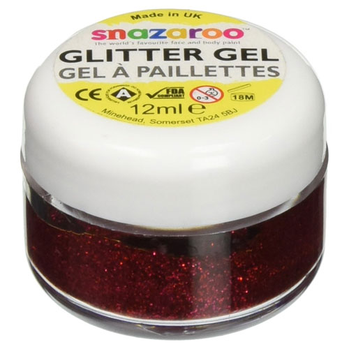 2. Snazaroo face and body paint 12ml glitter gel Regal Red