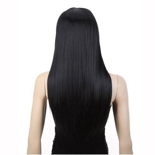 5. AGPtek® 24 inch Straight Long Beautiful Black Wig Hair