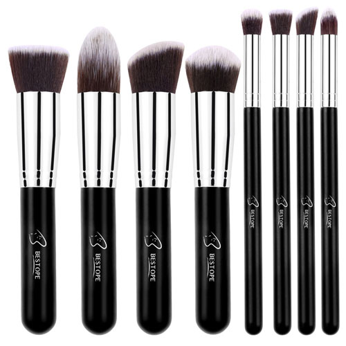 2. BESTOPE Makeup Brushes Premium Makeup Brush Set Synthetic Kabuki Makeup Foundation Eyeliner