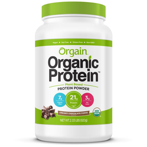 10. Orgain Organic Plant Based Protein Powder, Creamy Chocolate Fudge