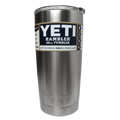 1. Yeti Coolers Rambler Tumbler, Silver