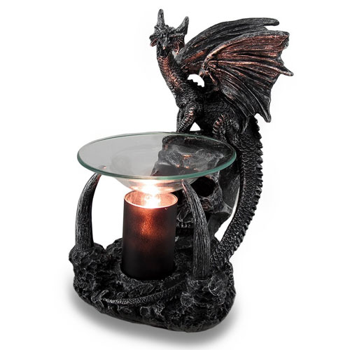 10. Obsidian Magma Gothic Dragon Lighted Electric Oil and Wax Warmer