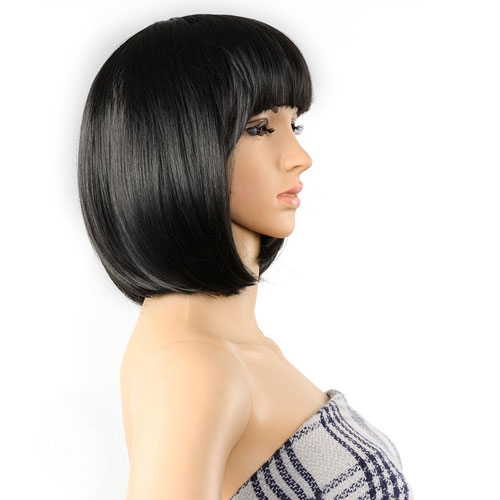 6. AGPtEK 13 Inches High-Quality Bob Style Wig Disco Party Short Straight Bang Hair Heat Resistant