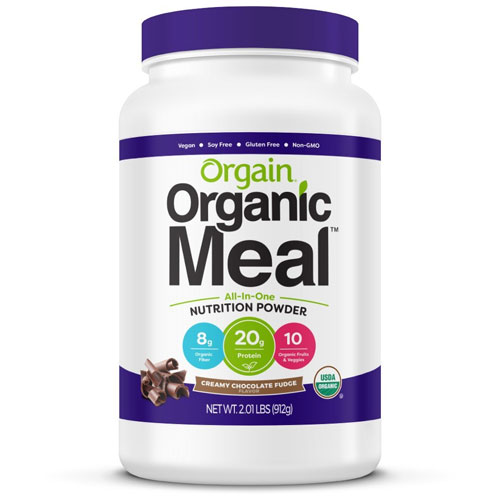 5. Orgain Organic Plant Based Meal Powder, Creamy Chocolate Fudge