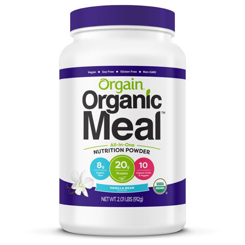 8. Orgain Organic Plant Based Meal Powder, Vanilla Bean