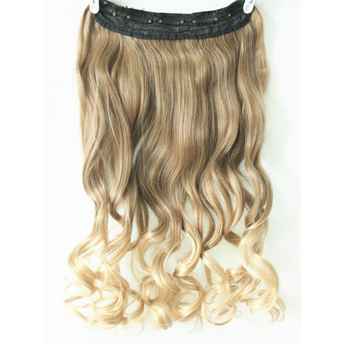 7. 3/4 Full Head Clip in Hair Extensions Ombre One Piece 2 Tones Wavy Curly