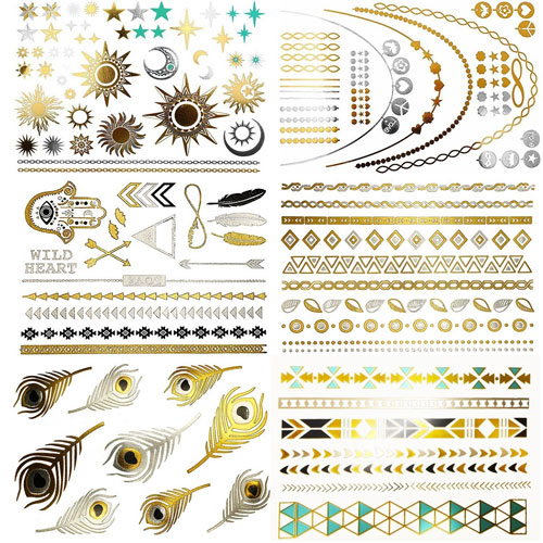 10. Metallic Temporary Tattoos, 8 Sheets, 150+ Designs