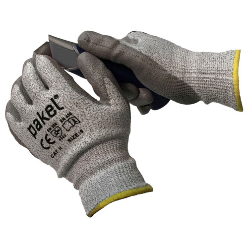 8. Pakel CE Level 5 Cut Resistant Knit Wrist Gloves