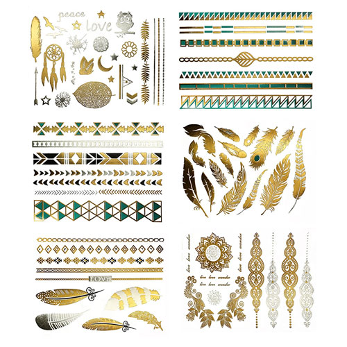 8. Metallic Temporary Tattoos - 75+ Designs, Pack of 6 Sheets (Chloe Collection)