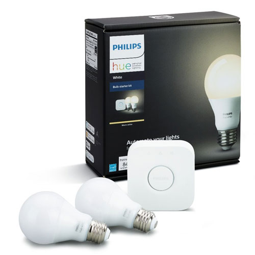 Philips Hue White A19 Starter Kit with Two A19 LED Light Bulbs and Bridge (hub)