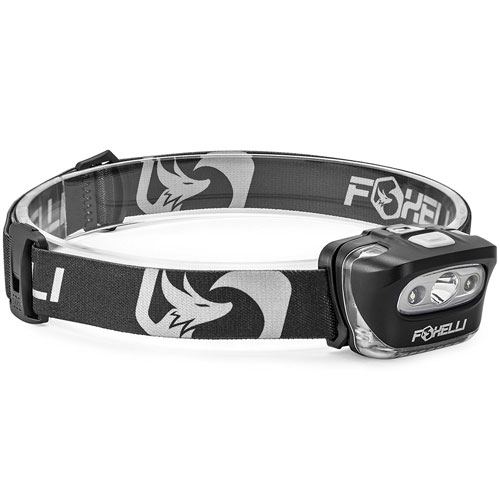 7 Foxelli Headlamp Flashlight - Bright 165 Lumen White Cree Led + Red Light, Perfect for Runners, Lightweight, Waterproof