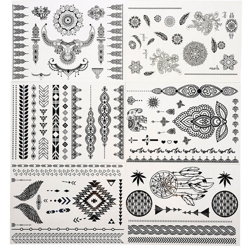 1. GIFT!!Tastto 6 Sheets Henna Body Paints Temporary Tattoos Black Lace Stickers for Girls and Women with GIFT