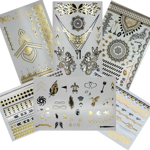 2. Henna Metallic Flash Temporary Tattoo (6 Sheets) Gold Silver and Black Jewelry Tattoos