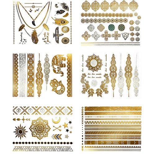 6. Premium Metallic Tattoos - 75+ Shimmer Designs in Gold, Silver, Black - Temporary Fake Jewelry Tattoos (Serenity Collection)