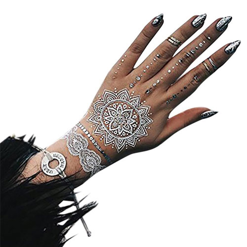 3. TribeTats Mykonos White Temporary Tattoos with Silver Metallic | Henna-Inspired Body Art | Music Festival Accessories | No Scissors Required | Mandalas, Elephants, Hamsas