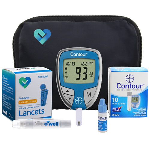 7. OWell Bayer Contour Complete Diabetes Blood Glucose Testing Kit