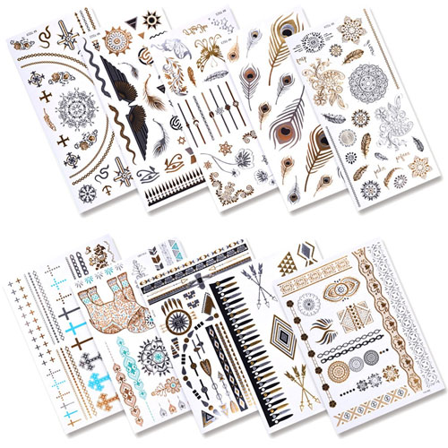 5. eBoot 10 Sheets Metallic Temporary Tattoos 200 Shimmer Designs (Gold, Silver, Black)