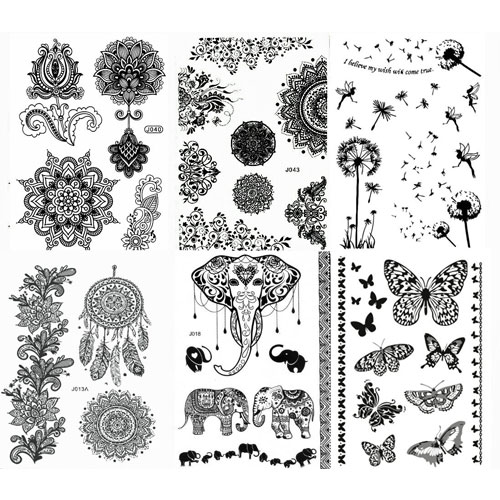 7. Black Henna Body Paints Temporary Tattoo Designs (Pack of 6 Sheets)