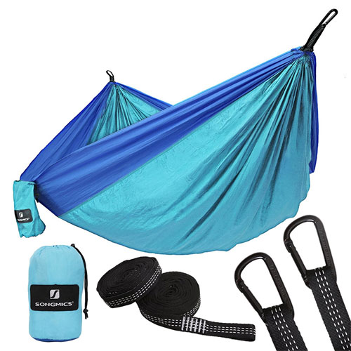 9. SONGMICS Double Parachute Nylon Camping Hammock Ultra-Lightweight