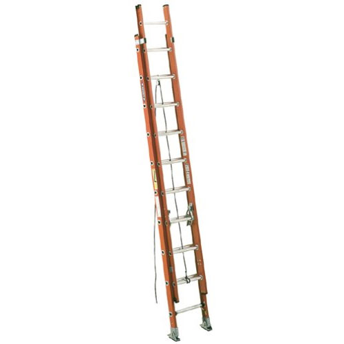 Werner D6224-2 300-pound Duty Rating Fiber Glass Flat D-rung Extensions Ladder