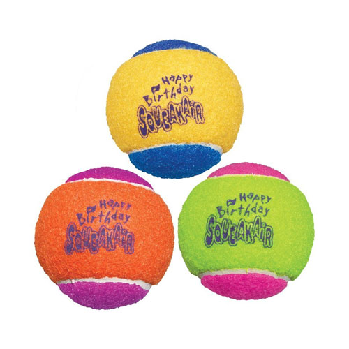 KONG Air Dog Squeakair Birthday Balls Dog Toy, Medium, (3 Balls)