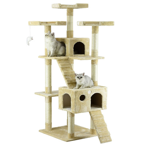 "Go Pet Club 72"" Beige Cat Tree Furniture"
