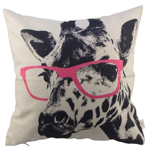 HOSL Animal Style Giraffe Pink Glass Throw Pillow Case