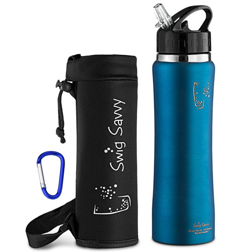 Swig Savvy Stainless Steel Insulated Water Bottle 32oz Wide Mouth Large Capacity Double Wall Design with Leak Proof Flip Top Straw Cap