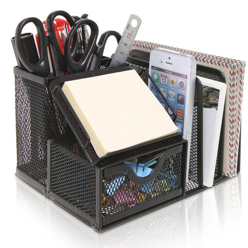 MyGift Metal Mesh Office Supplies Storage Rack