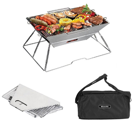 Wealers Compact Folding 16.5 X 12.5 Inch Charcoal BBQ Grill Made From Stainless Steel