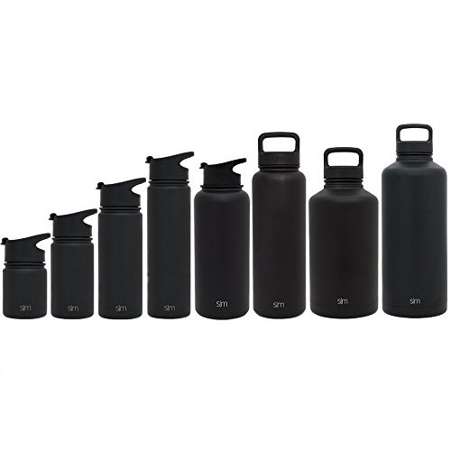Simple Modern Summit Water Bottle + Extra Lid - Vacuum Insulated Stainless Steel Wide Mouth Hydro Travel Mug - Powder Coated Double-Walled Flask