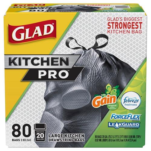 Glad Force Flex Kitchen Pro Drawstring Trash Bags