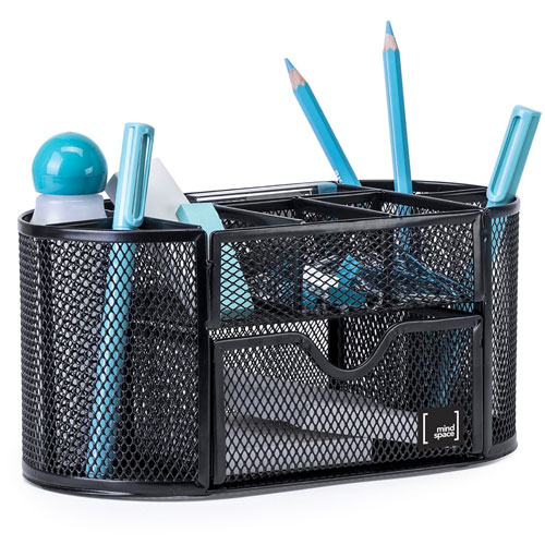 Mindspace Desk Supplies Organizer Caddy with 8 Compartments + Drawer / The Mesh Collection, Black