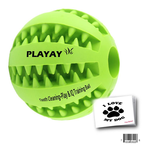 TOY IQ BALL FOR DOGS & CATS [Dental Treat][Bite Resistant] Durable Non Toxic- BPA FREE-Strong Tooth Cleaning Dog Toy Balls for Dog IQ Training