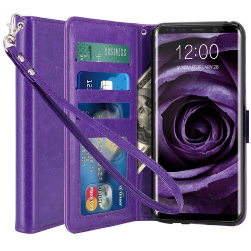 LK Luxury Leather Wallet Flip Protective Galaxy S8 Plus Case