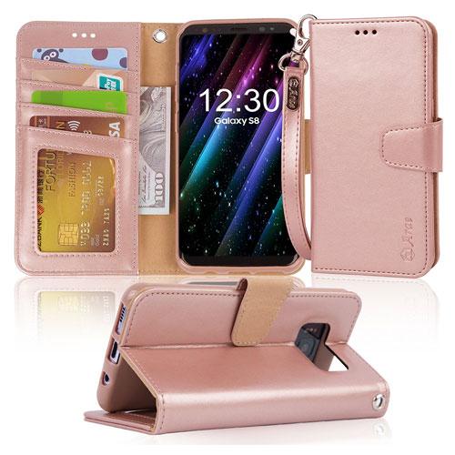 Galaxy S8 Case, Arae Flip Folio TPU Leather Wallet