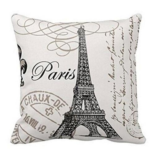 Paris Eiffel Tower Stamp Pillow Case