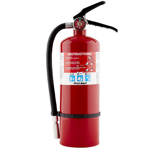 5. First Alert PRO5 Rechargeable Heavy Duty plus Fire Extinguisher, Red
