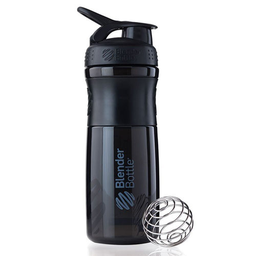 3. BlenderBottle SportMixer Tritan Grip Shaker Bottle, Black/Black, 28-Ounce