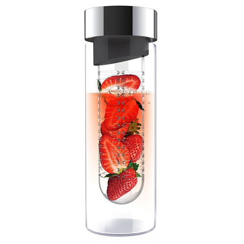 7. Asobu Flavor It 20 Ounce Glass Water Bottle With Fruit Infuser, Smoke Silver