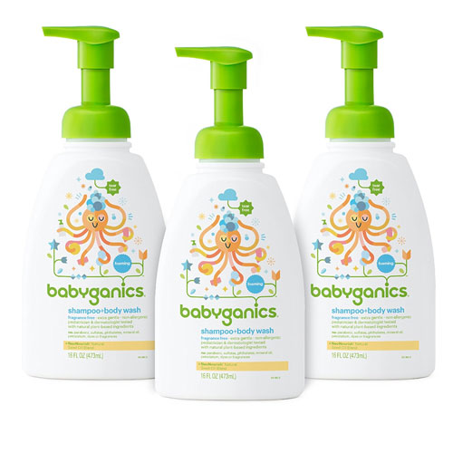 4 Babyganics Baby Shampoo and Body Wash, Fragrance Free, 3 Pack