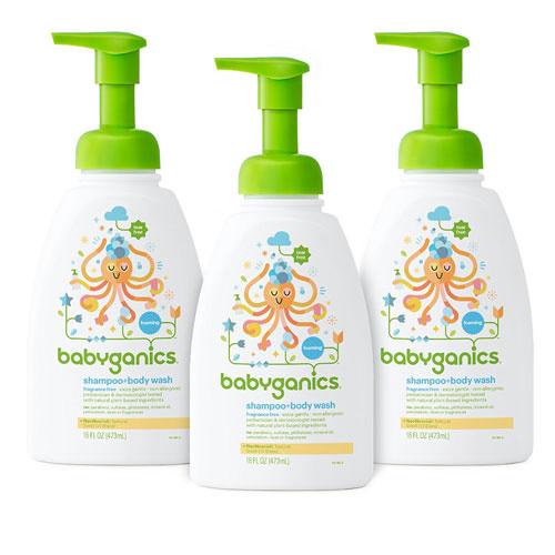 4 Babyganics Baby Shampoo and Body Wash, Fragrance Free, 3 Pack