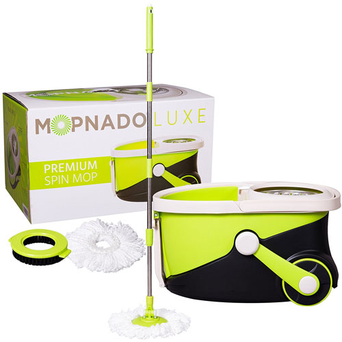 Mopnado Stainless Steel Deluxe Rolling Spin Mop Heads - Lime