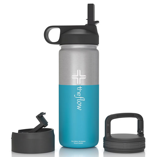 6. Flow Stainless Steel Water Bottle Double Walled/Vacuum Insulated - BPA/Toxin Free – Wide Mouth with Straw Lid, Carabiner Lid and Flip Lid