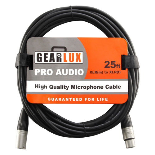 5. Gearlux XLR Microphone Cable, 25 Foot